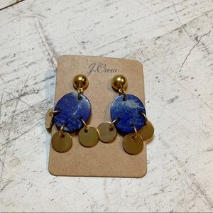 JCrew Lapis Gold Dangle Earrings NWT
